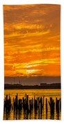 Blazing Humboldt Bay Sunset Bath Towel