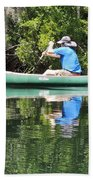 Blue Amongst The Greens - Canoeing On The St. Marks Bath Towel