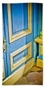 Blue And Yellow Door Bath Towel