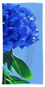 Blue Hortensia Hydrangea Bath Towel