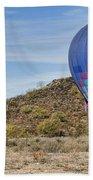 Blue Hot Air Balloon On The Desert  Bath Towel