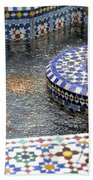 Blue Mosaic Fountain I Bath Towel