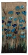 Blue Poppies And Gold Wheat Bath Towel