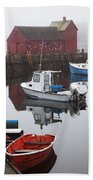 Boats At Rockport Harbor Bath Towel