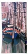Boats Bridge And Reflections In A Venice Canal Bath Towel