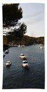 Boats In Cala Figuera Bath Towel