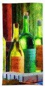 Bottles Of Wine Near Window Bath Towel