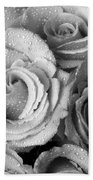 Bouquet Of Roses With Water Drops In Black And White Bath Towel