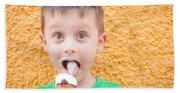 Boy Having Ice Cream Hand Towel