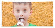 Boy Having Ice Cream Bath Towel
