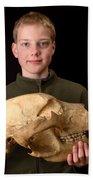 Boy Holding Kodiak Bear Skull Bath Towel
