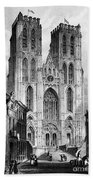 Brussels: Cathedral, 1838 Bath Towel