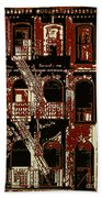 Building Facade In Brown And Red Bath Towel