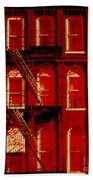 Building Facade In Red And White Bath Towel