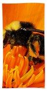 Bumblebee On Flower Bath Towel