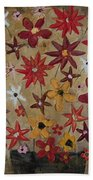 Burst Of Flowers Yellow And Red Bath Towel