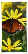 Butterfly And Yellow Flowers Bath Towel