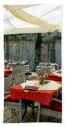Cafe In Split Old Town Bath Towel