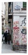 Calle Alvaro De Bazan Graffiti Bath Towel