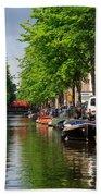 Canal Scene In Amsterdam Bath Towel
