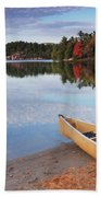 Canoe On A Shore Autumn Nature Scenery Bath Towel