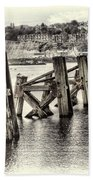 Cardiff Bay Old Jetty Supports Opal Bath Towel