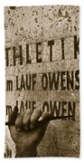 Carving The Name Of Jesse Owens Into The Champions Plinth At The 1936 Summer Olympics In Berlin Hand Towel