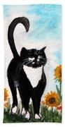 Cat Walk Through The Sunflowers Bath Towel