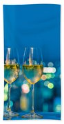 Champagne Glasses In Front Of A Window Bath Towel