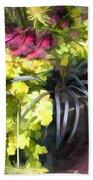 Chartreuse And Purple Plants Bath Towel