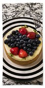Cheese Cake On Black And White Plate Bath Towel