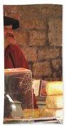 Cheese Seller At Sarlat Market Bath Towel