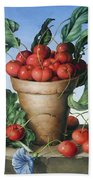 Cherries In Terracotta With Blue Flower Bath Towel