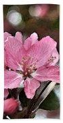 Cherry Blossom Photo Art And Blank Greeting Card Bath Towel