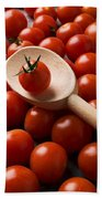Cherry Tomatoes And Wooden Spoon Bath Towel