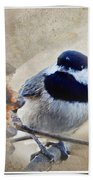 Chickadee Breakfast With Decorations Bath Towel
