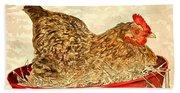 Chicken Hen Painting Art Print Bath Towel