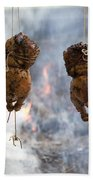 Chickens Roasting On Open Pit Fire Bath Towel