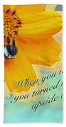 Child Birthday Greeting From Parent Parents - Cosmos And Bumblebee Bath Towel