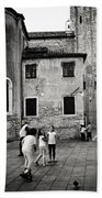Children At Play In A Venice Piazza Bath Towel