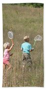 Children Collecting Insects Bath Towel