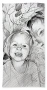 Children Playing In The Fallen Leaves Bath Towel