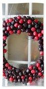Christmas Cherry Wreath Bath Towel