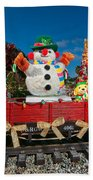 Christmas Snowman On Rails Bath Towel