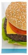 Classic Hamburger With Cheese Tomato And Salad Bath Towel