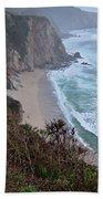 Cliffs And Surf On The California Coast Bath Towel