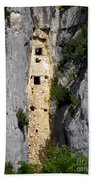 Climber Near Prehistoric Cliff Dwelling Bath Towel