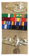 Close-up View Of Military Decorations Bath Towel