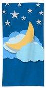 Cloud Moon And Stars Design Bath Towel