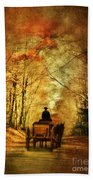 Coach On A Road In Autumn Bath Towel